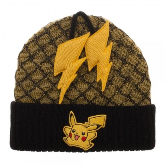 d7a414e5c4f Pokemon Pikachu Cuff Beanie Lightning Bolt Tassels